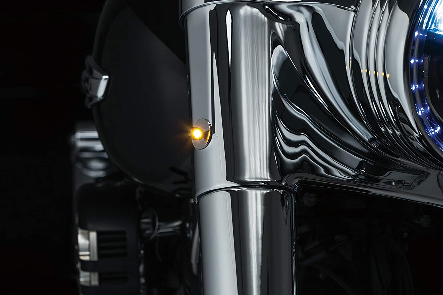 Satin Black Kuryakyn 2535 Motorcycle Lighting Accessory: Kellermann Atto Amber Pack of 1 Front//Rear LED Turn Signal//Blinker Light with Clear Lens