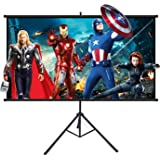 Projector Screen with Stand, Powerextra 100 inch 16:9 HD 4K Indoor Outdoor Foldable Projection Screen with Frame, 1.1Gain 160° Viewing Angle Wrinkle-Free Tripod Screen for Movie or Office