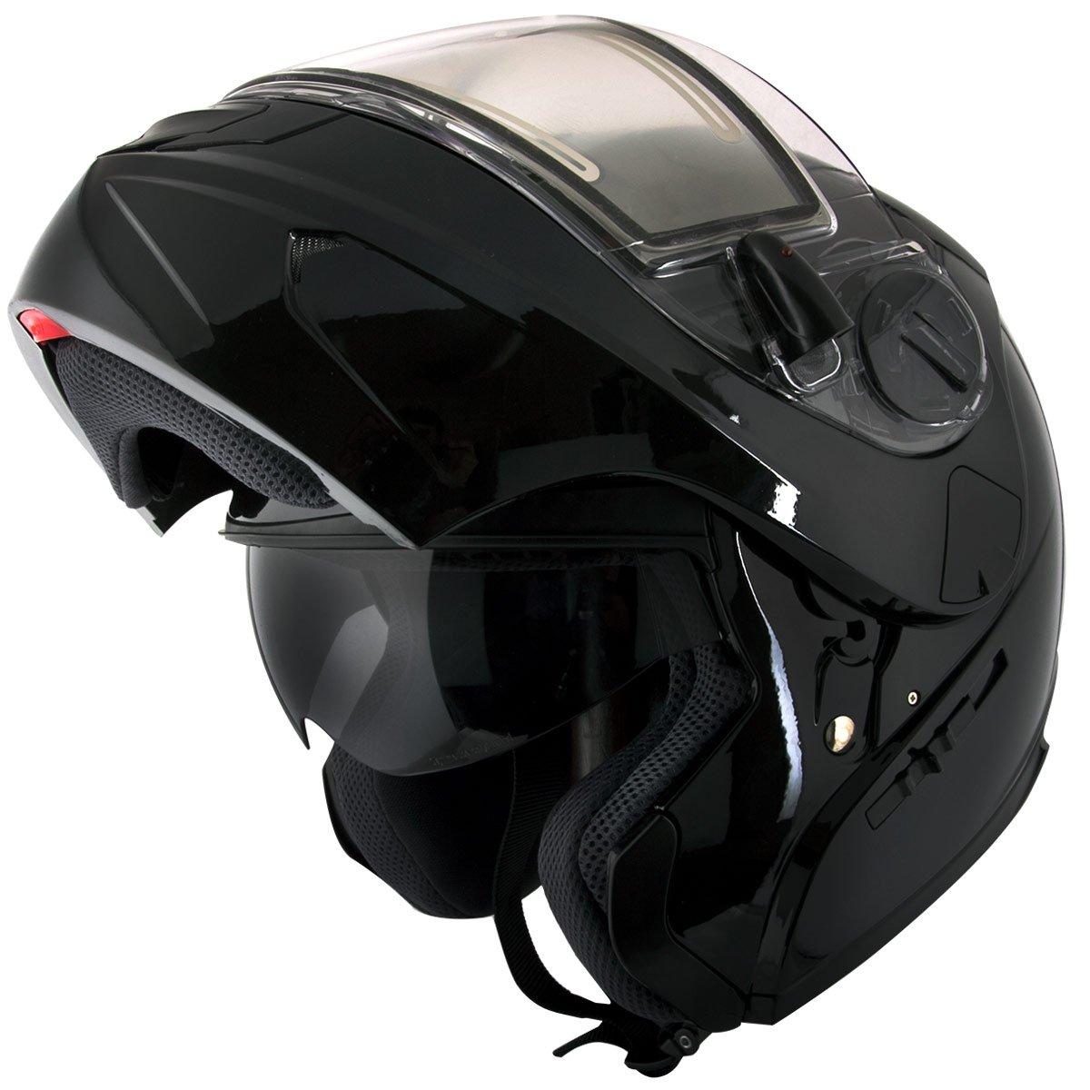 Snow Master TX-797S Glossy Black Modular Snowmobile Helmet - Small