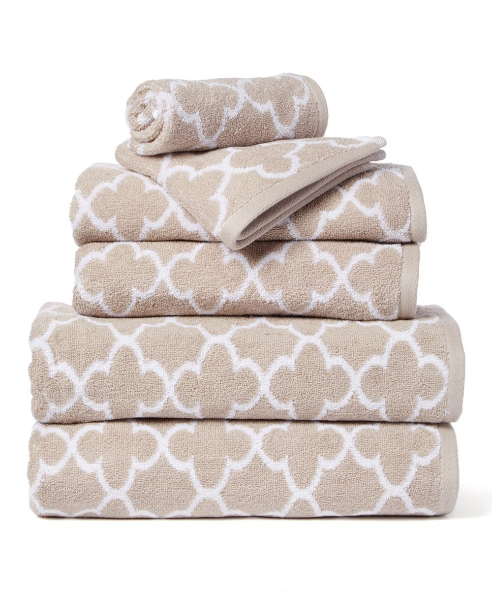 HomeCrate Irongate 600 GSM 100% Cotton 6 Piece Towel Set - Sand/White - Hotel Quality, Super Soft and Highly Absorbent by HomeCrate