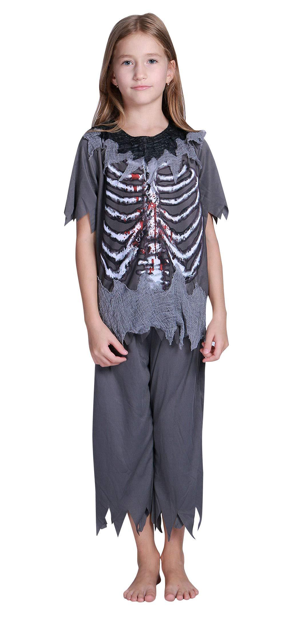 Kids 2 Pieces Bones Halloween Costume Boys Girls Skeleton Ghost Outfits Pants Set M