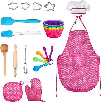 Schürze für kleine Mädchen 11-teilig inkl Kochmütze Kinder-Koch und Backset