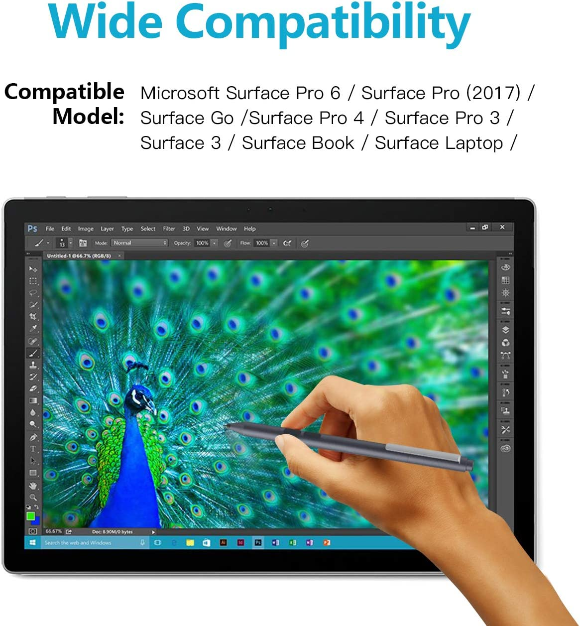 Surface Pen for Microsoft Surface Models Space Gray TiMOVO Stylus Pen 1024 Pressure Sensitivity and Palm Rejection for Surface Pro Surface Book,Studio Surface Go Surface Laptop