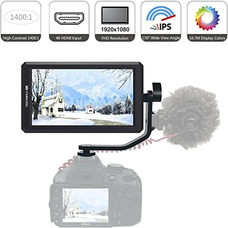 Feelworld F6 HD monitor de la cámara, 5.7 pulgadas IPS 1920 x 1080 ...