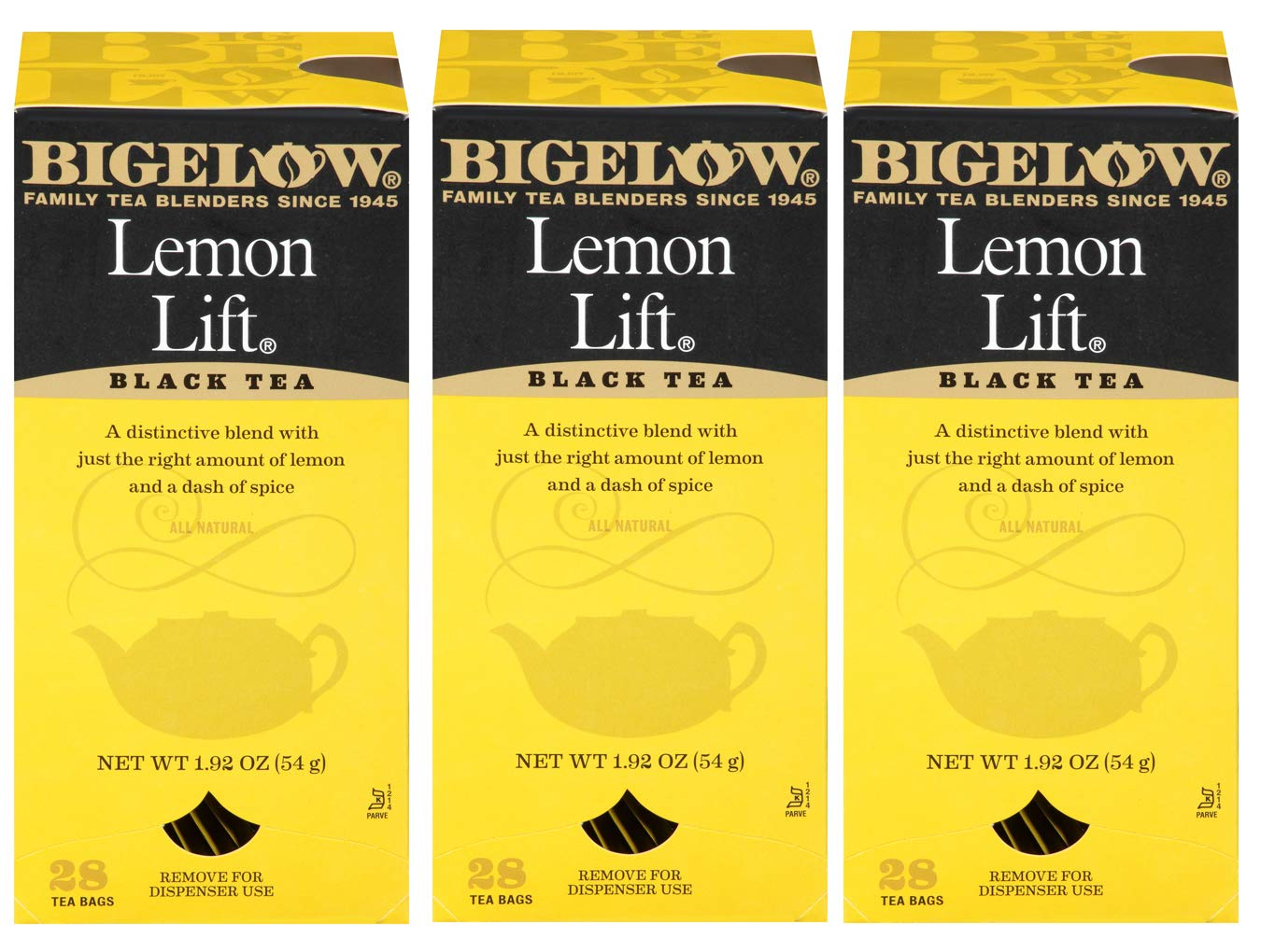 Bigelow Lemon Lift Black Tea Bags 28-Count Box (Pack of 3) Lemon Flavored Black Tea Naturally & Artificially Flavored