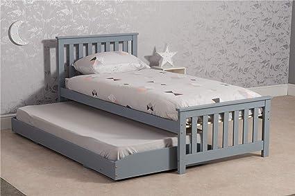 In legno 0,9 m singolo,, con secondo letto estraibile Grey: Amazon ...