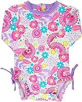 RuffleButts Infant/Toddler Girls Long Sleeve UPF 50+ One Piece Rash Guard Swimsuit