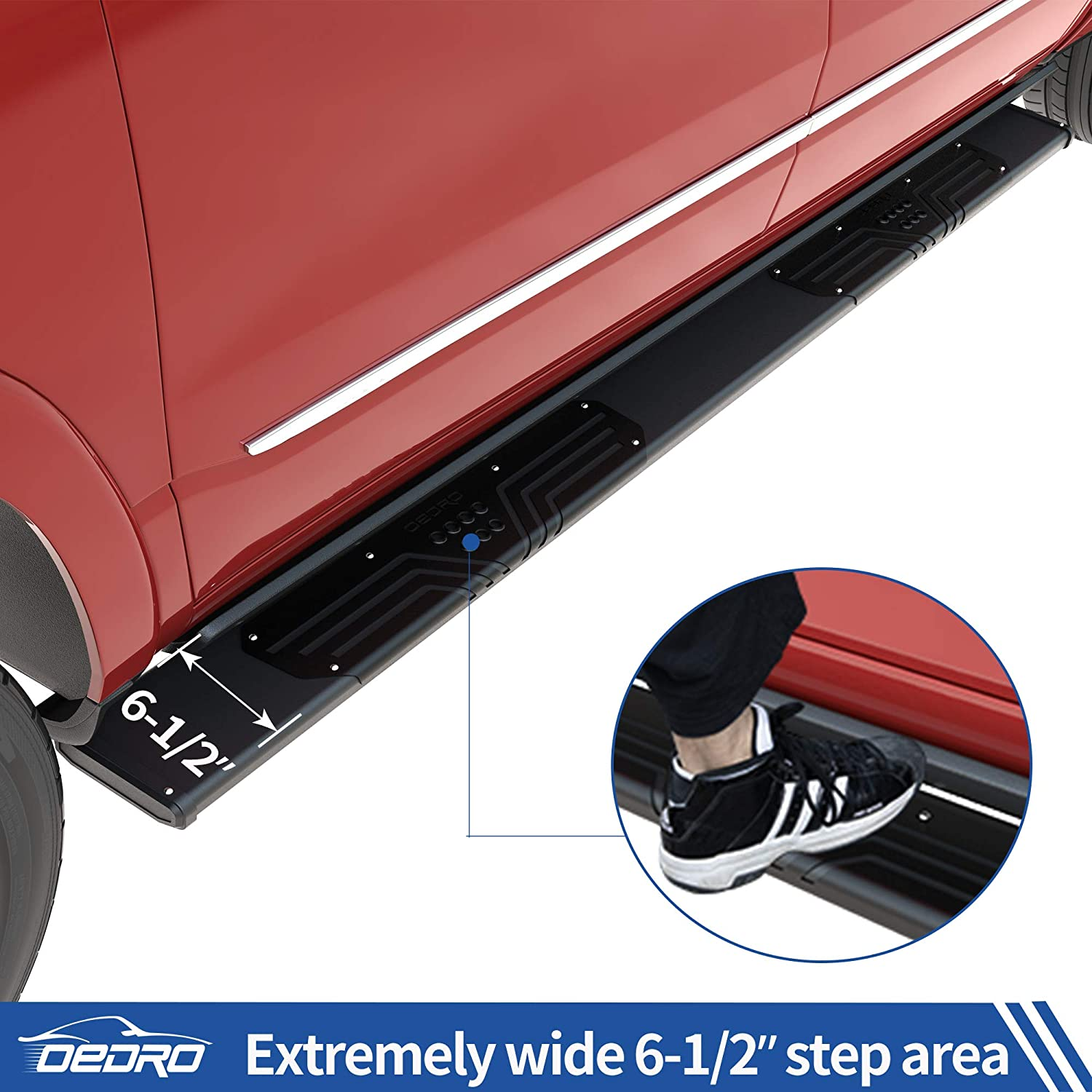 Aluminum Side Steps Nerf Bars for More Fuel Efficiency Black Textured oEdRo 6.5inch Running Boards Compatible with 2009-2018 Dodge Ram 1500 Quad Cab 2019-2021 Ram 1500 Classic