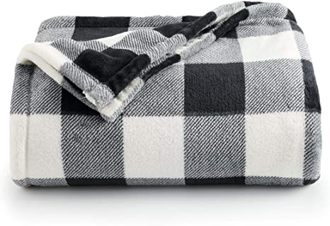 The Big One Super Soft Plush Throw Red Buff Check Oversized 5 ft x 6 ft.