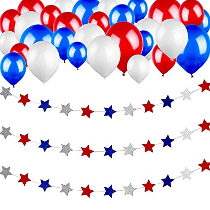 Gejoy 29 5 Feet Patriotic Red White Blue Star Streamers And 30 Pieces Red White Blue Balloons For 4th Of July Flag Day Labor Day Memorial Day