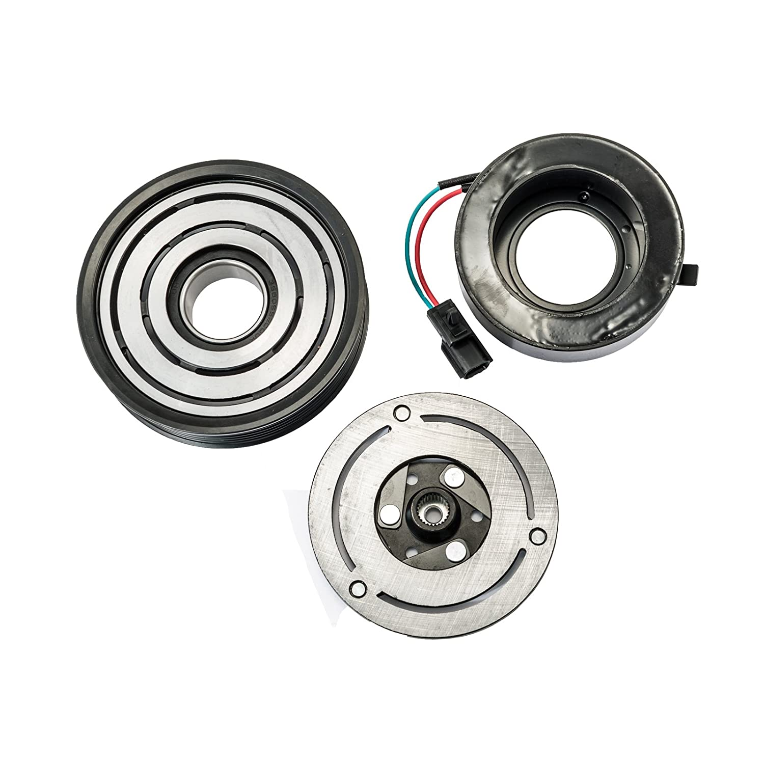 HexAutoparts A/C AC Compressor Clutch Repair Kit - Front Plate Pulley Coil Bearing for Nissan Altima V6 3.5L 2007-2012 CL007