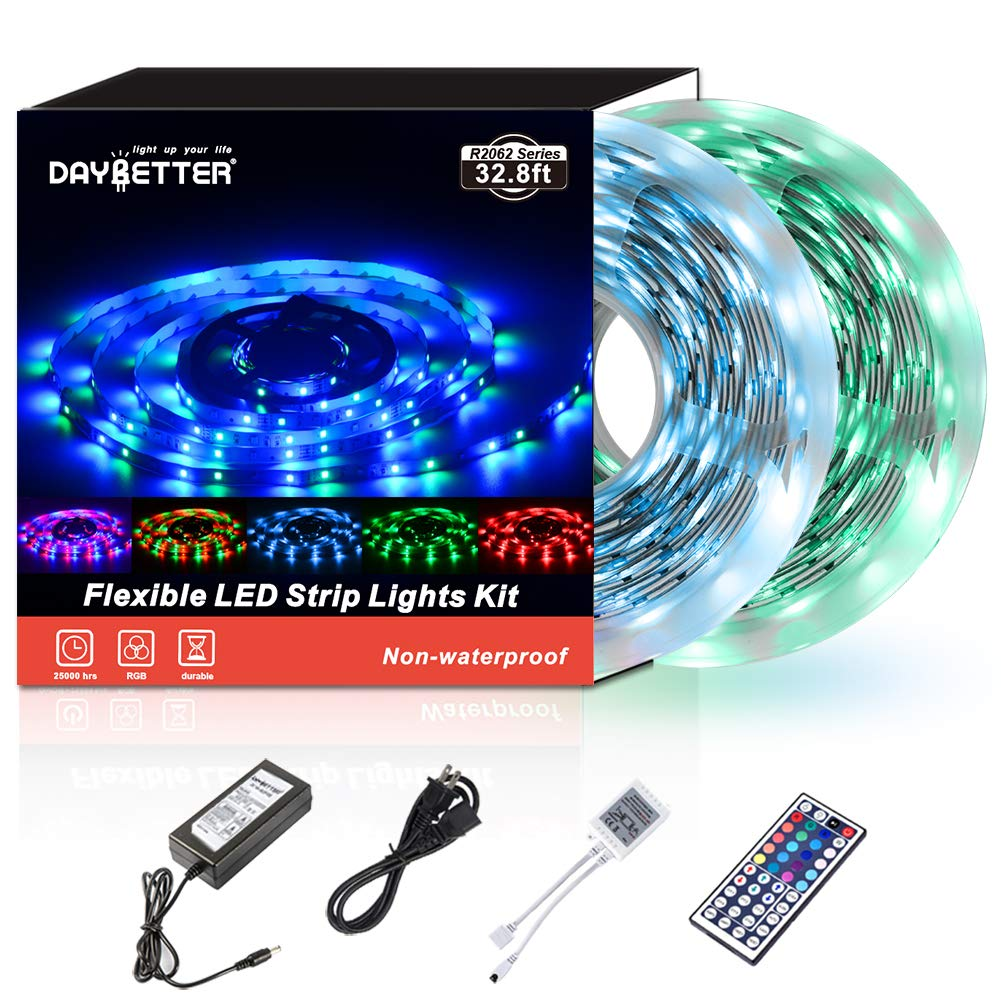 Led Strip Lights 32.8ft 10m 600LEDs Non Waterproof Flexible Color Changing RGB SMD 3528 LED Strip Light Kit with 44 Keys IR Remote Controller and 12V Power Supply NO White Color by DAYBETTER