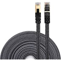 DanYee Ethernet Cable Cat 7 Flat High Speed Nylon Lan Network Patch Cable Gold Plated Plug STP Wires CAT 7 RJ45 Ethernet Cable 0.5M 1M 2M 3M 5M 8M 10M 15M 20M 30M (1M, Black)