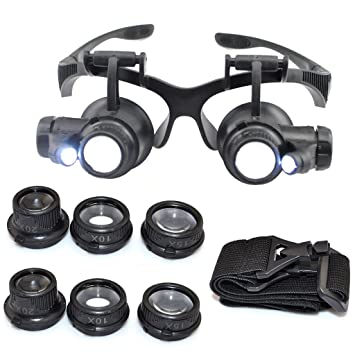 786126d1c2ca Image Unavailable. Image not available for. Color: iKKEGOL 10X 15X 20X 25X  LED Double Eye Jeweler Watch Repair Magnifying Glasses ...