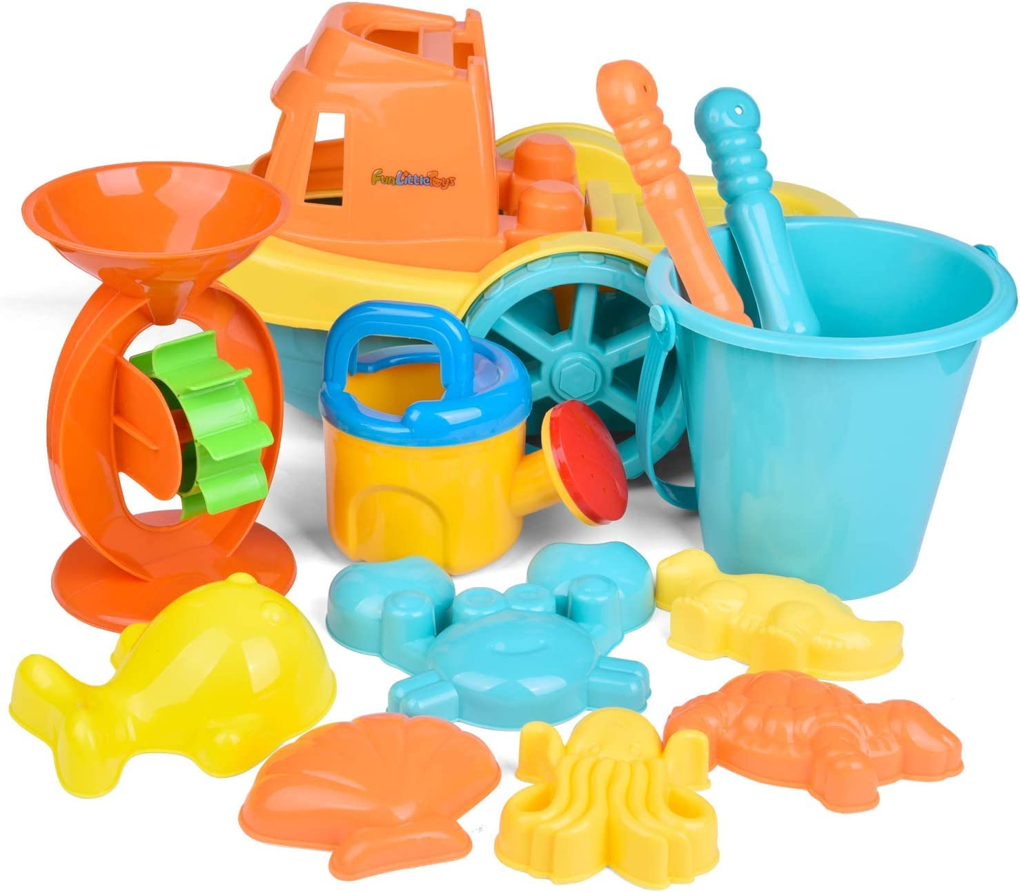 Summer Fun Sand Toys and Sandbox Toys FUN LITTLE TOYS Beach Toys for Kids Set 20 Pieces Outdoor Toys for Kids