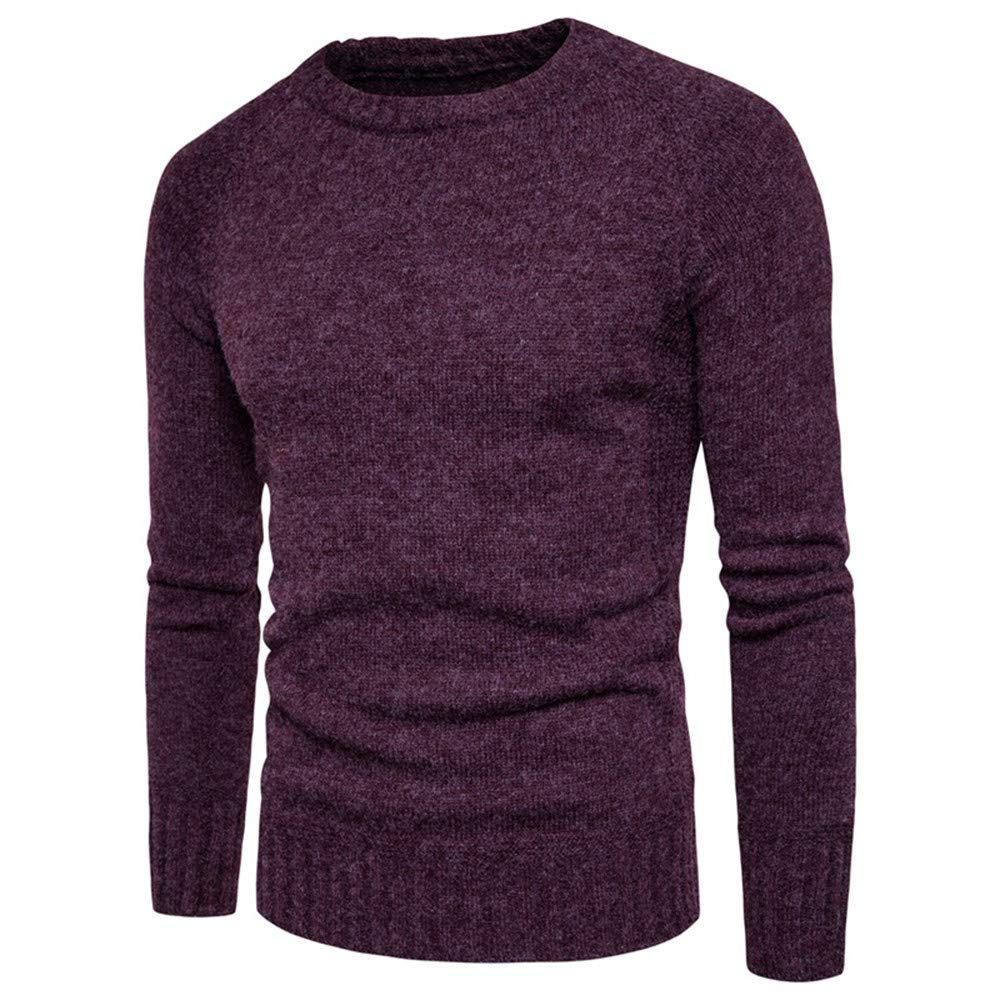 AKIMPE Man's Fashion Casual Solid Color Long Sleeve O-Neck Sweaters Tops Blouse