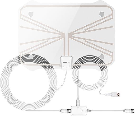 Antena de TV transparente, para interiores, ultrafina, TDT, con amplificador de señal desmontable, cable coaxial de 5 m para una mejor recepción