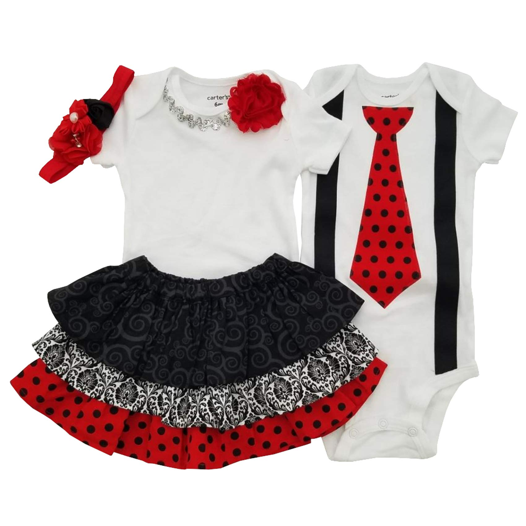 Perfect Pairz Boy Girl Twin Outfits Scarlett and Scott USA Made Outfit(09M Long Sleeve) by Perfect Pairz