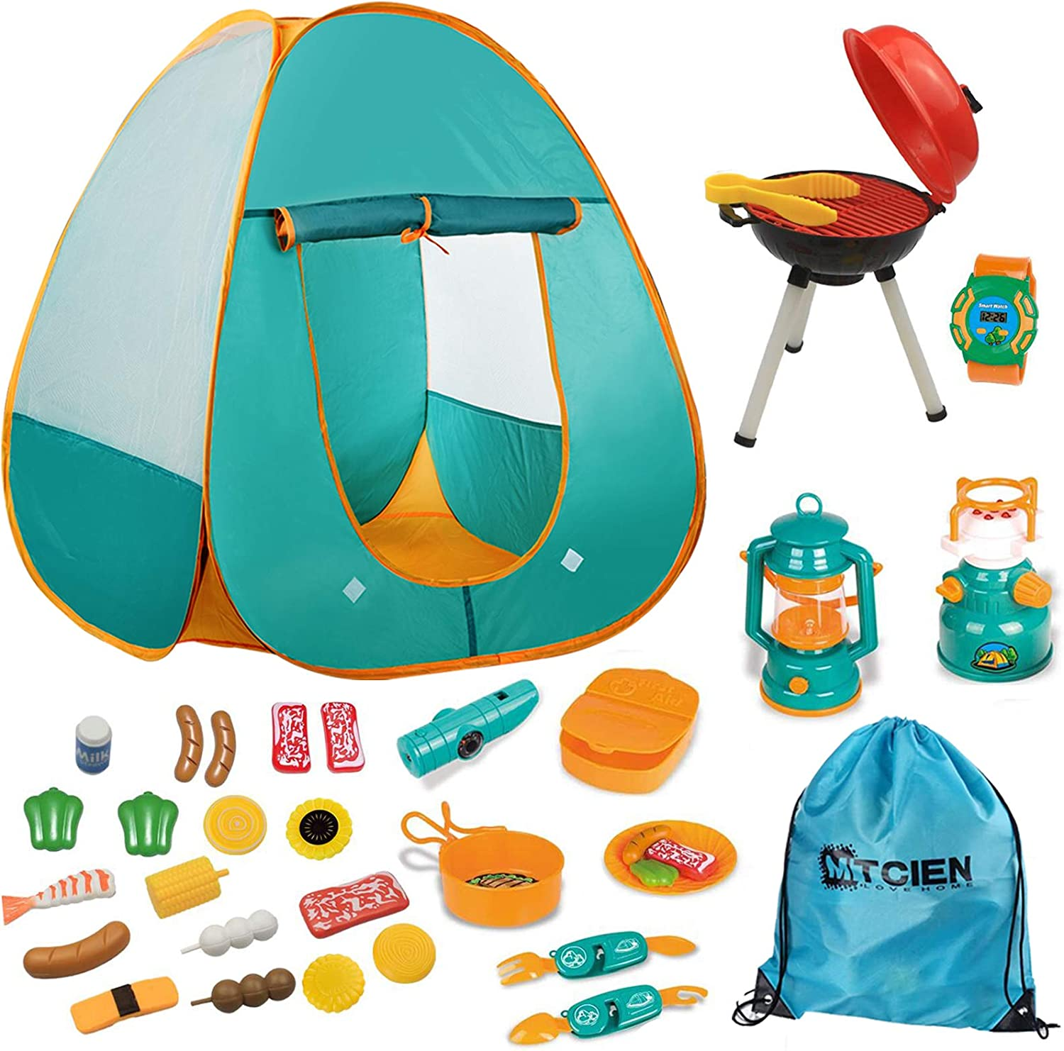 Amazon Com Mitcien Kids Camping Tent Gear Set Pop Up Play Tent With Pretend Bbq Toys Camping Tools For Toddlers Boys Girls For Indoor And Outdoor Toys Games
