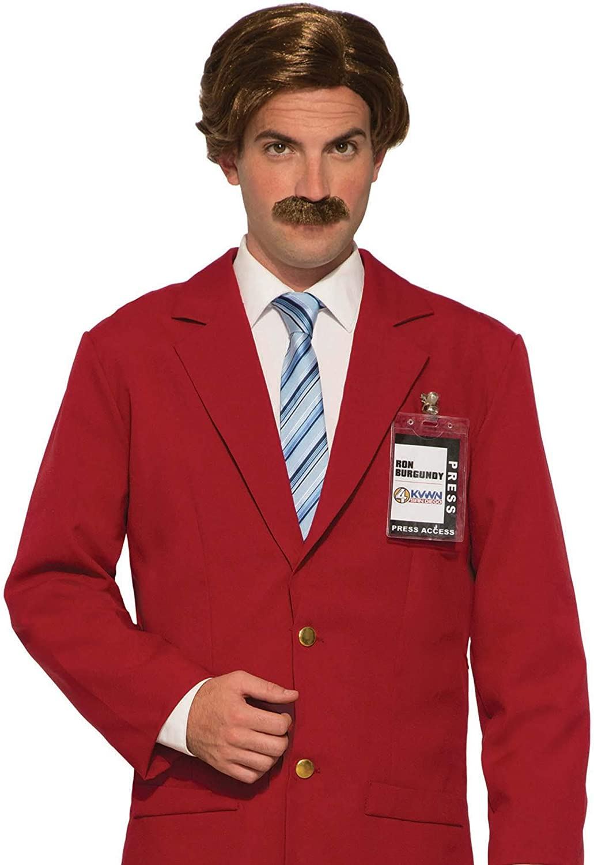 Anchorman Ron Burgundy Wig & Mustache Costume Set