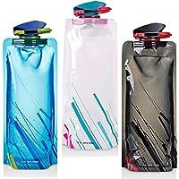 YoMaris  Unisex Adult 700ML Faltbare Set von 3 mit CE, ROHS Zertifikate, Zusammenklappbare Flexible Wiederverwendbare Wasserflasche zum Wandern, Abenteuer, Reisen