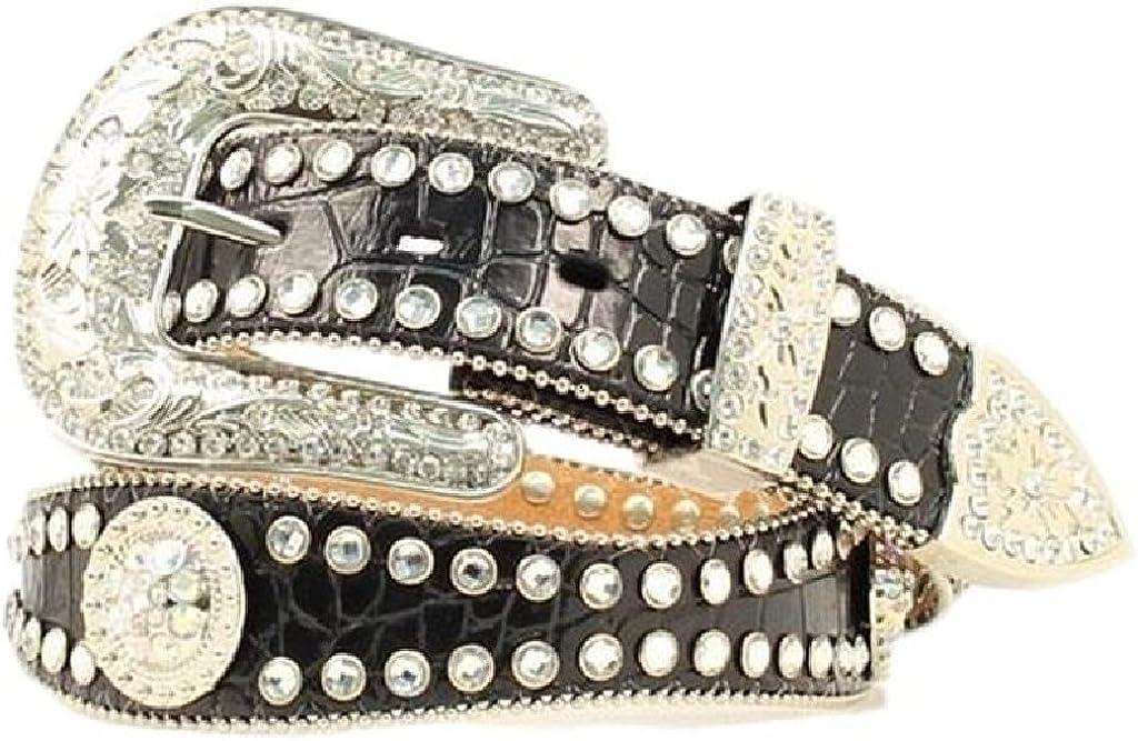 Black Style /& Co Women/'s Rhinestone Faux Leather Skinny Belt M