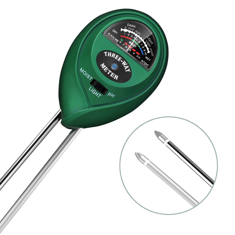 Enover 3 in 1 Moisture Light PH Soil Meter, Plant Care Test Kit, No Battery Needed