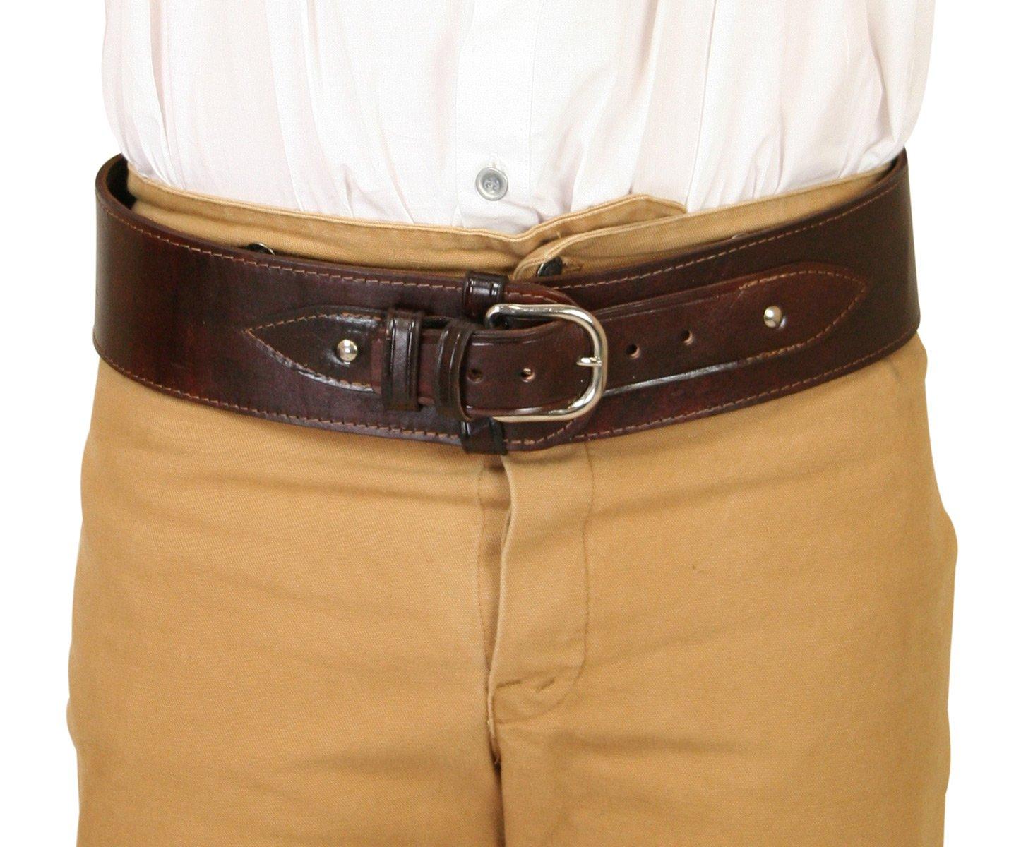 Historical Emporium Mens Plain Leather Powder Belt
