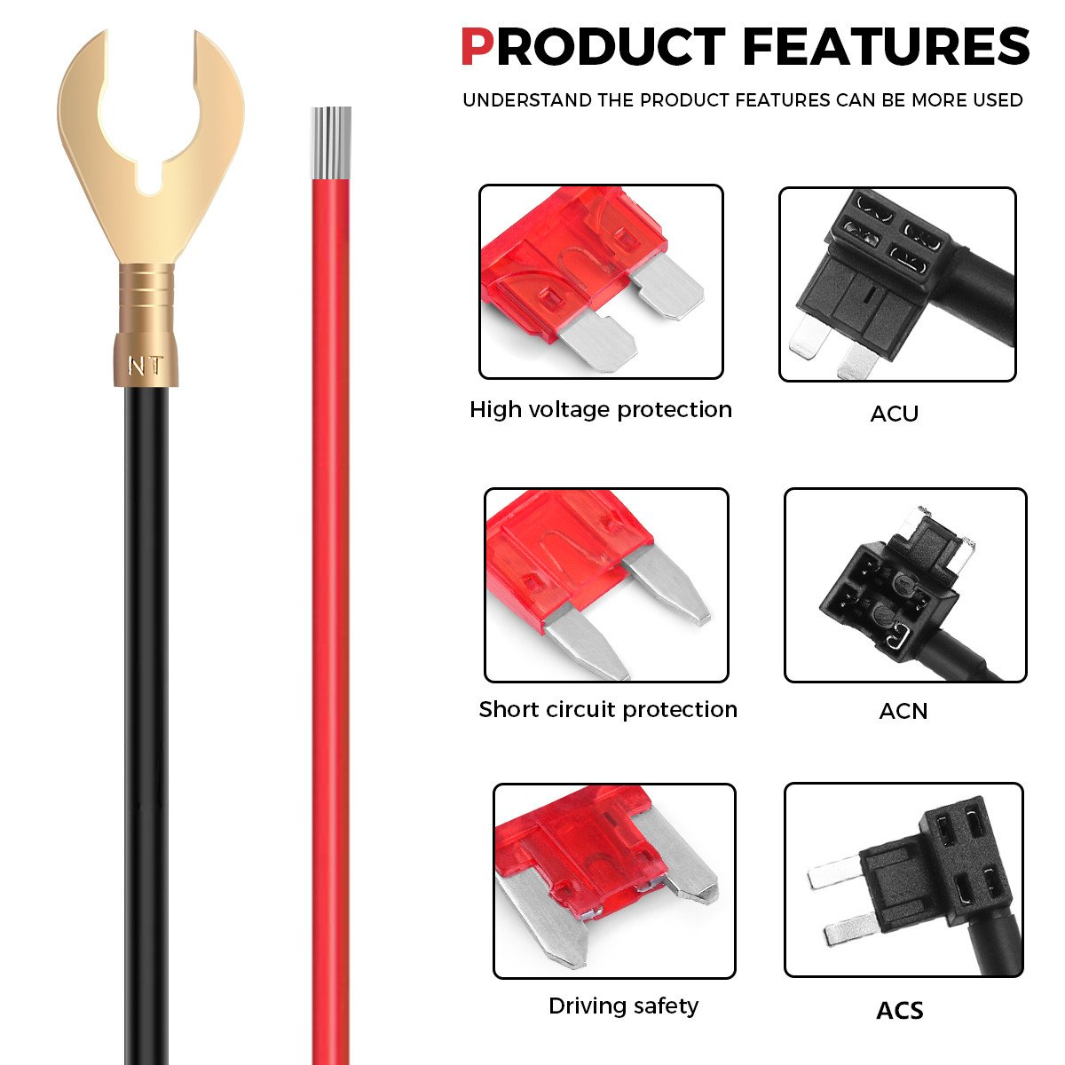 dash cam hardwire kit micro usb anschluss dc 12v 24v 5v 2a max auto ebay. Black Bedroom Furniture Sets. Home Design Ideas
