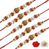 Chandrika Pearls Gems & Jewellers set of five Crystal Studded Rakhi for Brother