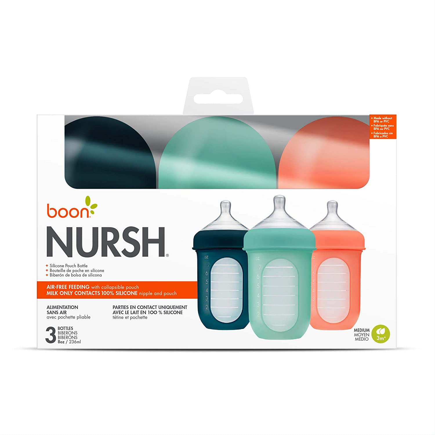 8 Ounce Pack of 3 Boon NURSH Reusable Silicone Pouch Bottles