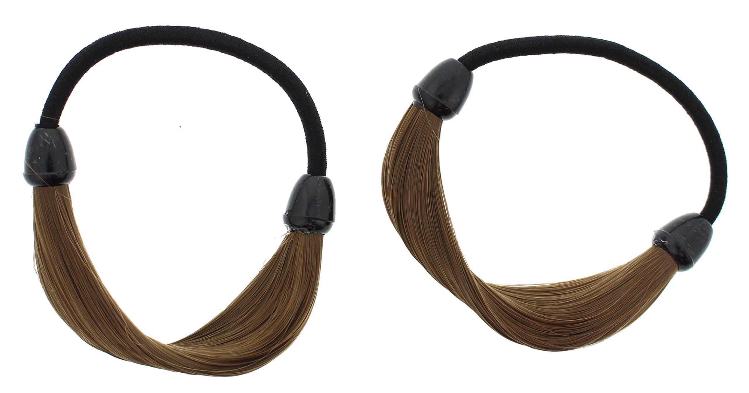 Making Waves Smooth Faux Hair Ponytail Holder (2Pcs) (Brown) by Making Waves