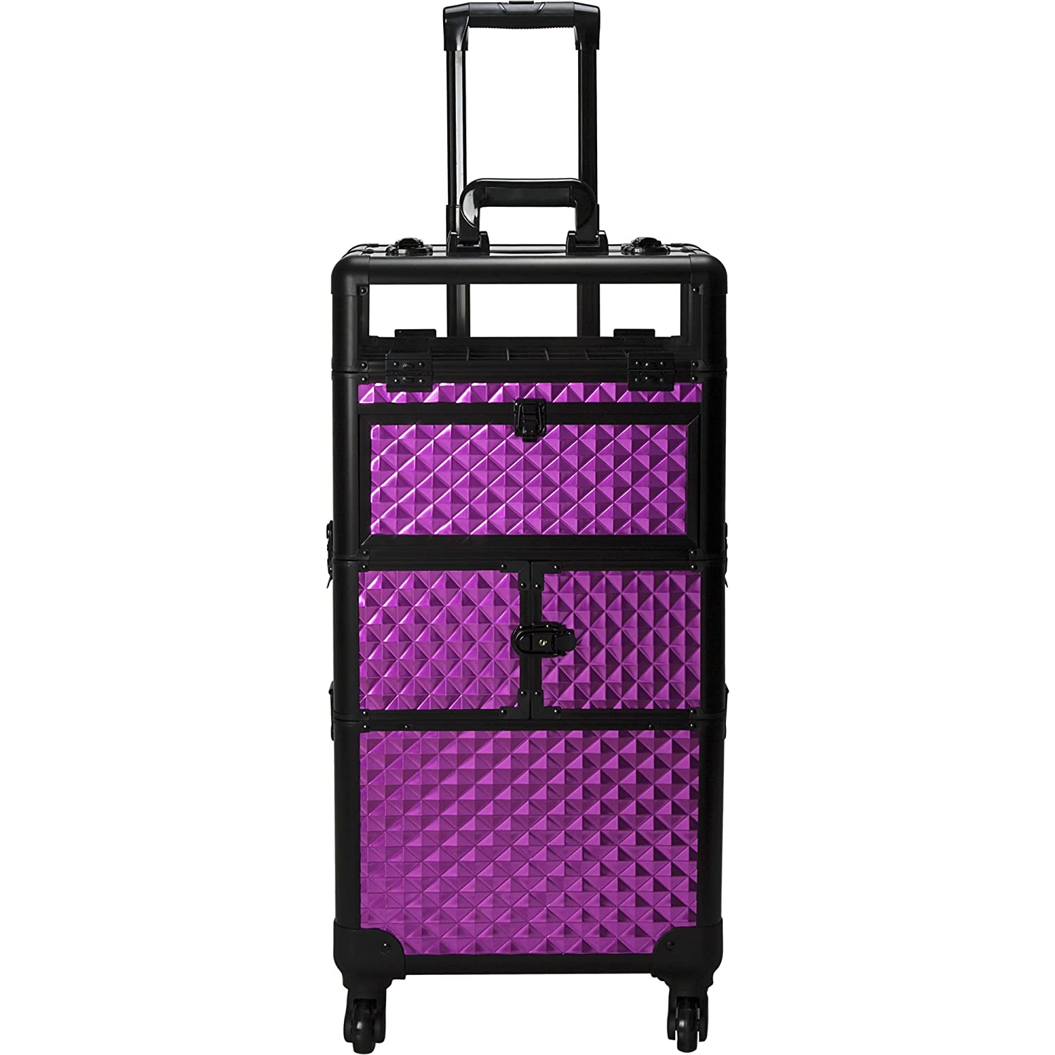 Sunrise I31064 Pro 4 Wheels 2 in 1 Rolling Makeup Cosmetic Nail Case Organizer with 54 Bottles 6 Trays, Diamond Purple I31064DMPLB