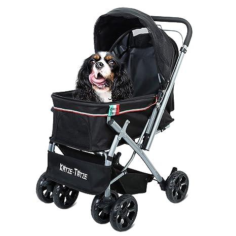 Katze-Tatze Cochecito para Mascotas Perro y Gato 6 Ruedas Grandes Plegable Ahorro de Espacio