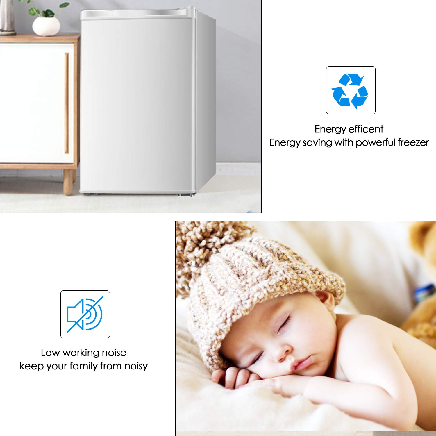 Upright Freezer Lock 1.1 Cubic Feet with Reversible Stainless Steel Door Removable Shelves Mini Freezer Adjustable Thermostat Refrigerant for Home Office Stainless steel-1.1cu.ft