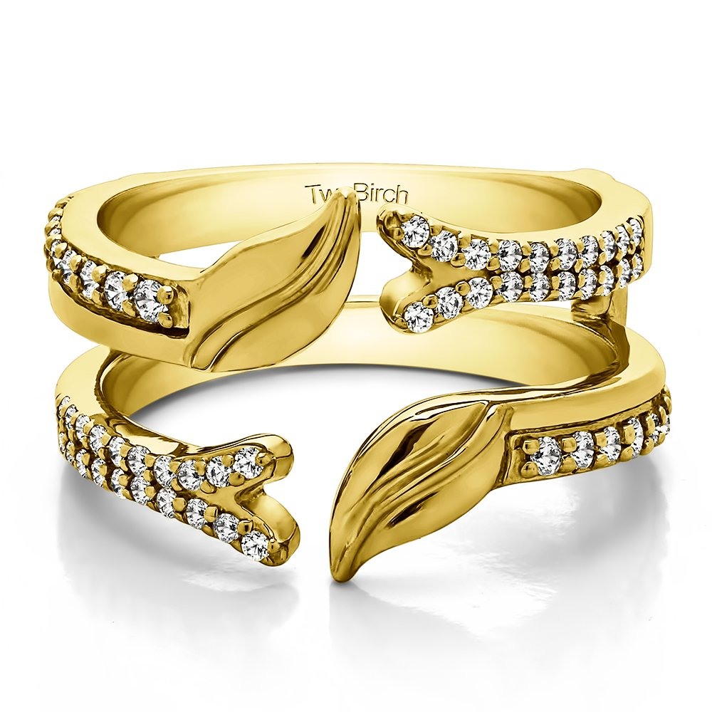 TwoBirch Yellow Plated Sterling Silver Open Ended Double Leaf Wedding Ring Guard with Cubic Zirconia (0.33 ct. tw.)