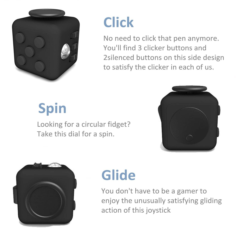 Amteker Fidget Cube Fidget Spielzeug Angst Aufmerksamkeit Stress Relief, und brechen nervöse Gewohnheiten und Angst Spielzeug Geschenke für Kinder und Erwachsene (schwarz)