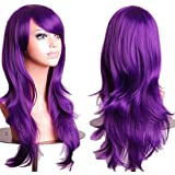 """28 """"Women's Hair Wig New Fashion Long Big Wavy Hair Heat Resistant Wig for Cosplay Party Costume(purple)"""