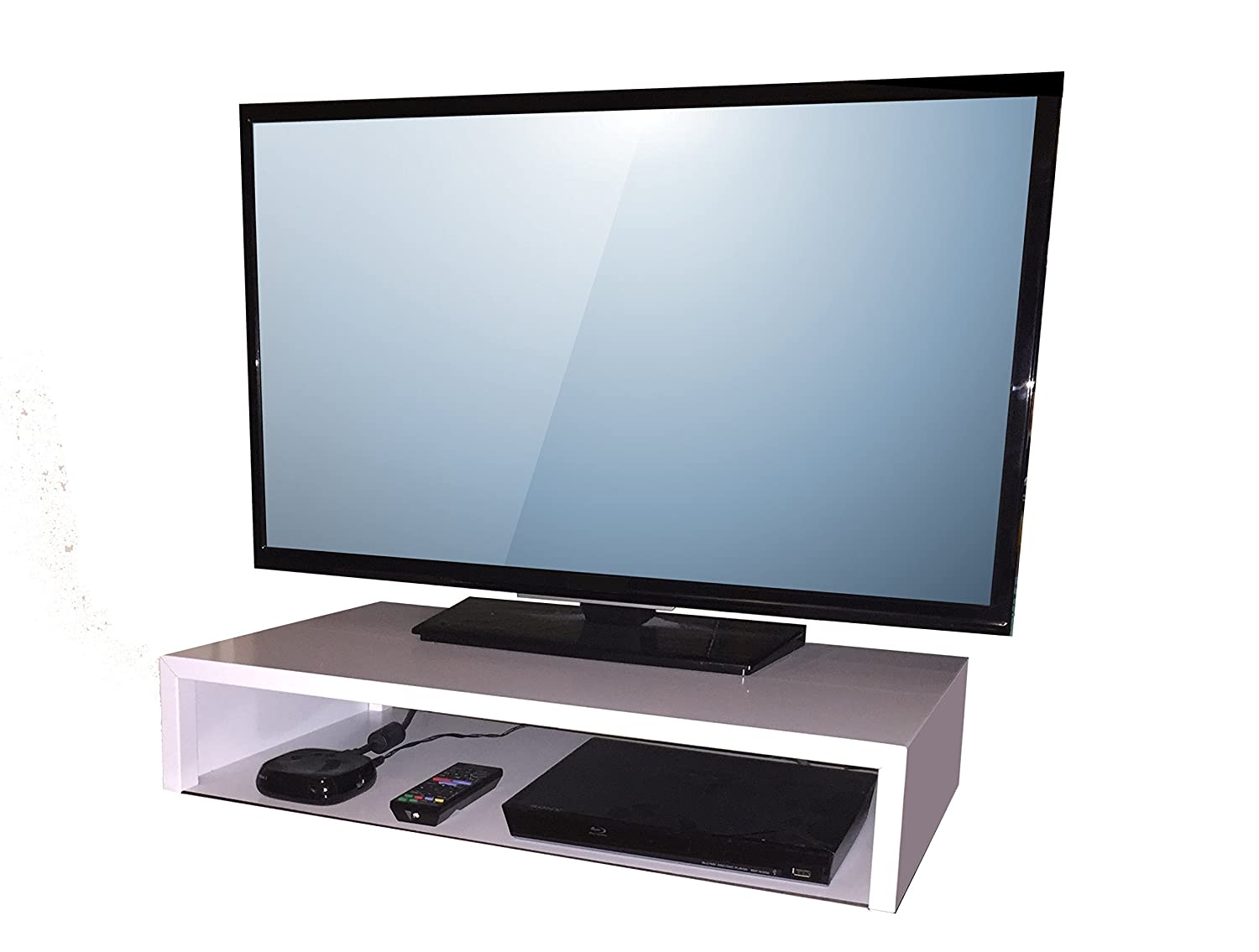 SoCalVS Tabletop TV Stand 25 W x 14 D x 5 H White RIZERvue Up to 32 Diagonal No Assembly Required