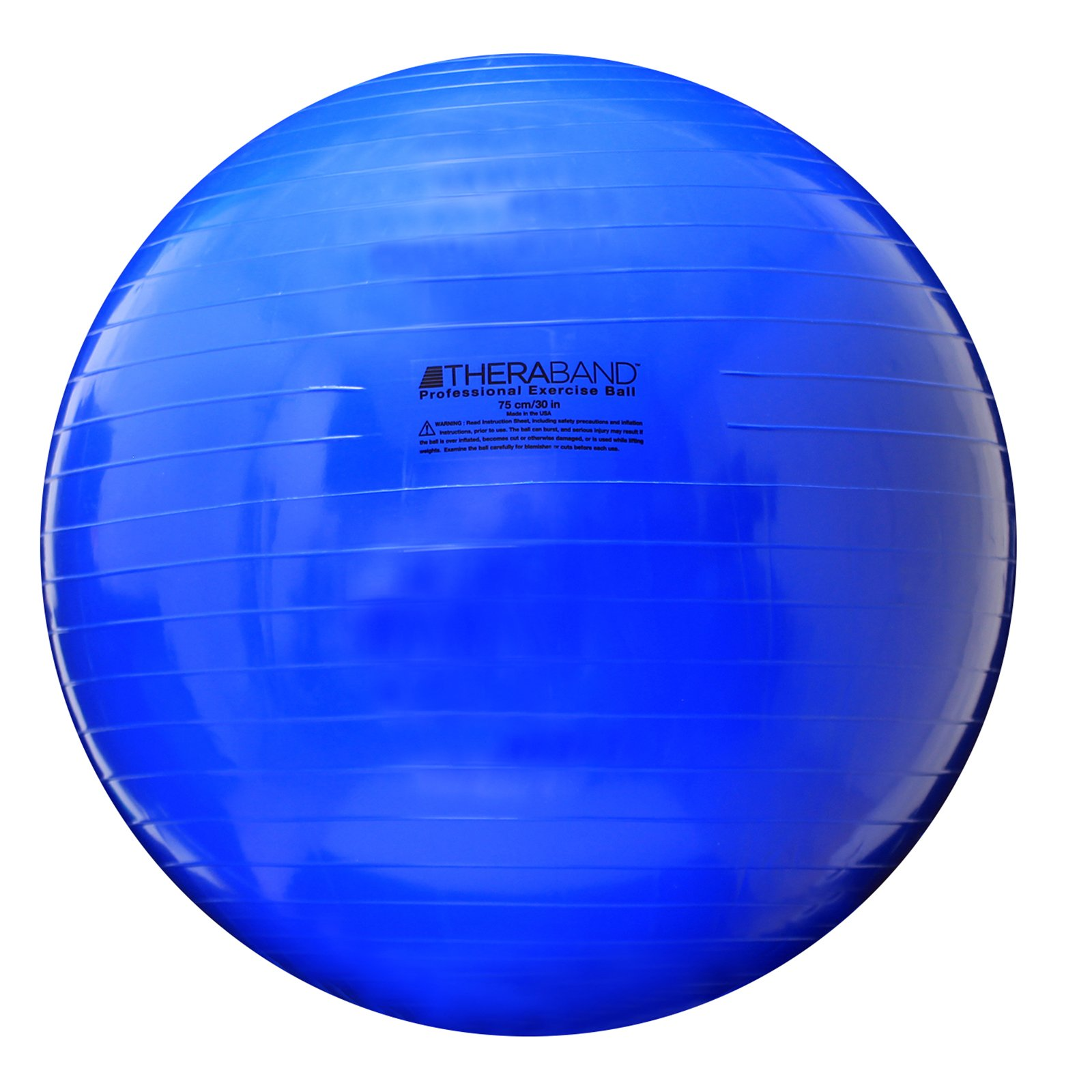 TheraBand Exercise Ball, Stability Ball with 75 cm Diameter for Athletes 6'2 to 6'8 Tall, Standard Fitness Ball for Posture, Balance, Yoga, Pilates, Core, Rehab, Blue