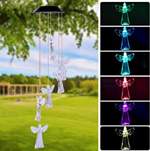 Arcpic Color Changing Solar Angel Wind Chime - LED Decorative Mobile, Waterproof Outdoor/Indoor Solar String Lights for Patio, Balcony, Party, Garden, Great Gift for Mom, Grandma, Birthday
