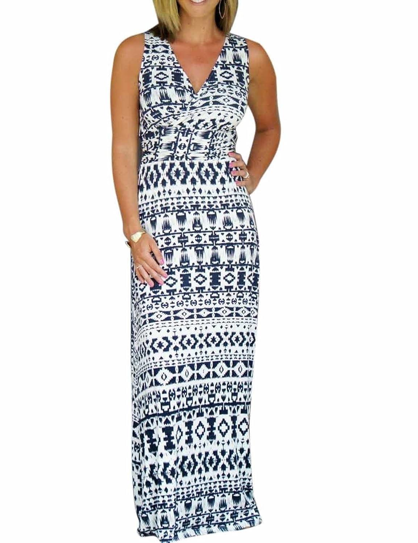 CRAVOG Sexy Damen Maxikleid Strandkleid Sommerkleid Printed lang Kleider