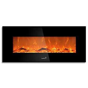 "Amazon.com: Ivation 50"" Wall Mounted Glass Electric Fireplace w/ Built In 1500-Watt Heater – Realistic LED Flames - Mounting Hardware & Remote Included – Great for Living Room"
