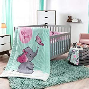 DreamPartyWorld Little Elephant Crib Set Baby Gift Shower Bedding Dumbo Nursery Pink Blue Polka 100% Cotton