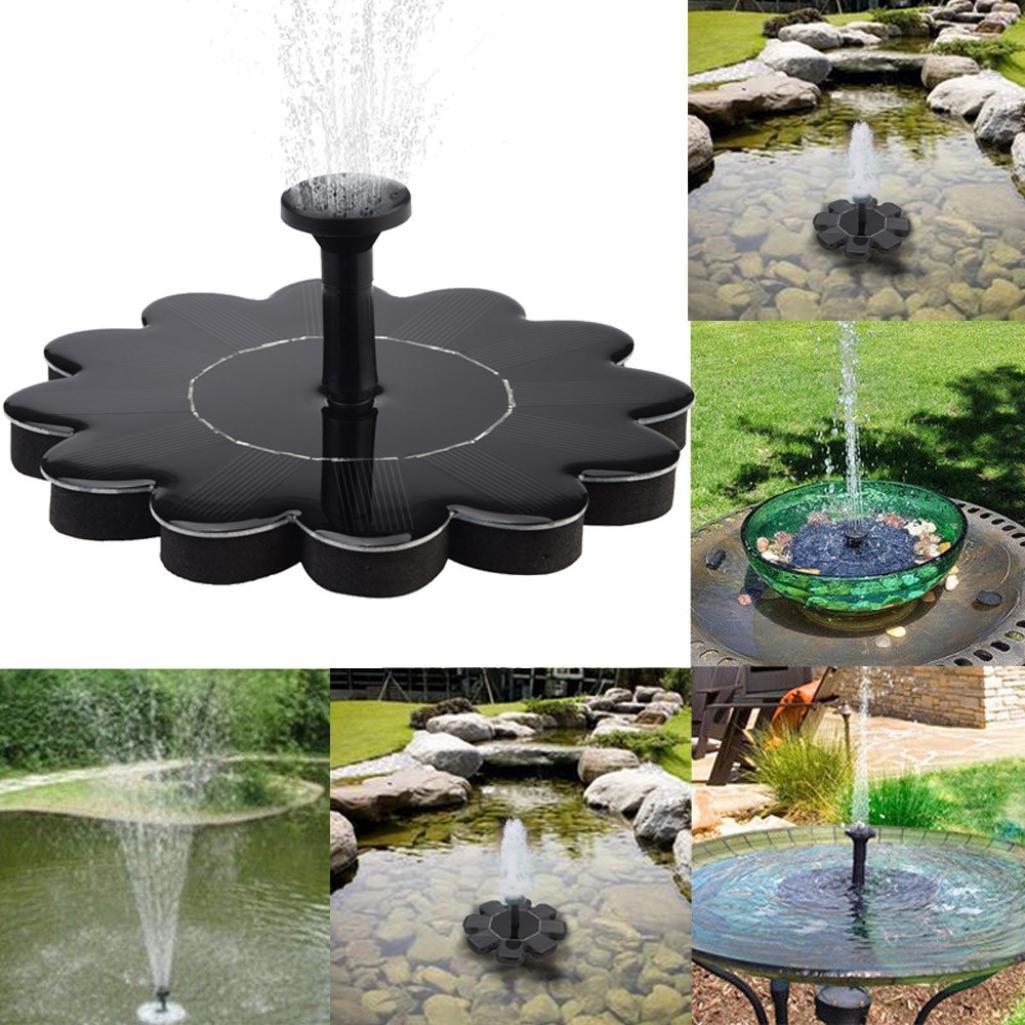 TiTCool Micro Solar Fountain Black Simple Portable Flower Shape For Pool Garden Aquarium