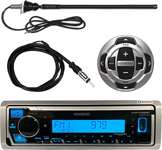 Kenwood MP3//USB//AUX Marine Boat Yacht Stereo Bluetooth Receiver CD Player Bundle Combo w// RC35MR Wired Remote Control Enrock Water Resistant 22 Radio Antenna Outdoor Rubber Mast AM//FM 45 Antenna