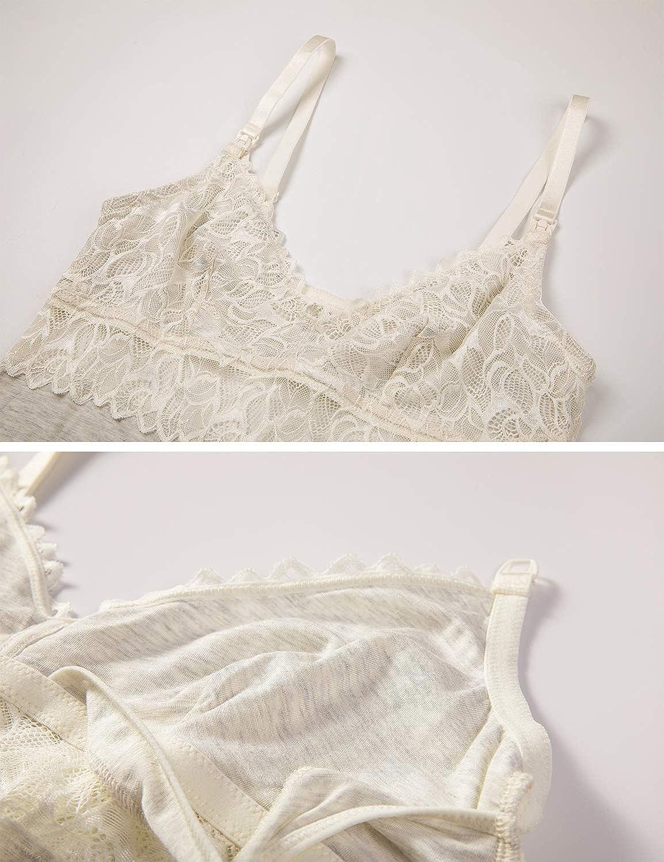 MOMANDA Damen Spitzen Umstandsnachthemd StillNachthemd f/ür Schwangerschaft