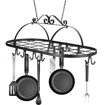 pesters – Colgante Accesorio De Hierro, cocina soporte colgador organizador de ollas y sartenes para