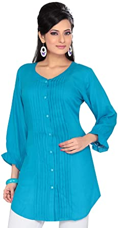 504c52368e6976 Maple Clothing India Long Tunic Top Kurti Womens Rayon Indian Apparel  (Blue, S)