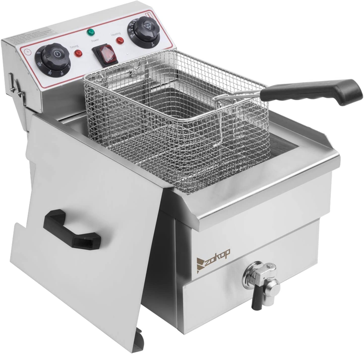 ZOKOP 12.5 QT Butterball Electric Turkey Fryer,Stainless Steel Faucet Single Tank Deep Fryer with Removable Baskets and Thermostats,Silver